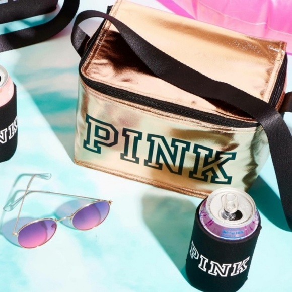 9e3f384a0c25f NWT VS PINK Cooler / Lunch Bag & Coozie Rose Gold